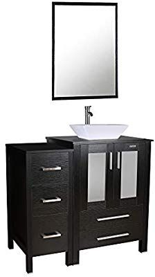 36 Quot Bathroom Vanity And Sink Combo Counter Top Baisn Square Ceramic Vessel Sink W Faucet Pop Up Drain Removable Vanity With Images Bathroom Vanity Mdf Cabinets Vanity