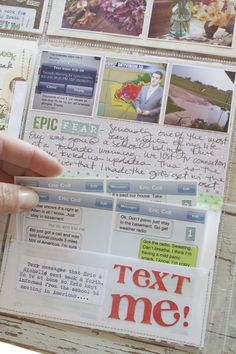 A pleasing pockets hybrid storytelling with flipper part when opened holds text messages in this example but could hold things like ticket stubs.  'Life is Lovely' blog by Michelle Wooderson, Mish Mash: Project Life Week 13, 2012