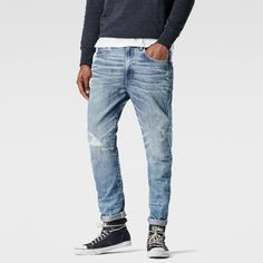 G-Star RAW   Men   Jeans   Raw For The Oceans - Type C 3d Super Slim Jeans , Light Aged Restored