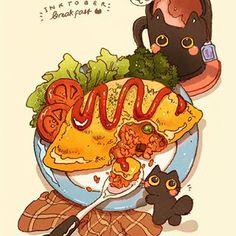 Japanese Drawings, Easy Drawings, Food Illustrations, Illustration Art, Chibi Food, Food Sketch, Food Wallpaper, Omurice, Food Drawing