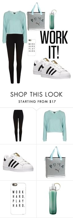 """""""WORK IT!"""" by hannah-purple ❤ liked on Polyvore featuring River Island, Topshop, adidas, Puma and Casetify"""