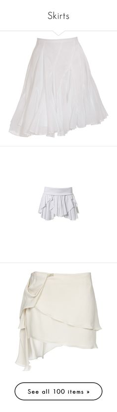 """Skirts"" by thewolfsdance ❤ liked on Polyvore featuring skirts, bottoms, women, frilly skirt, flouncy skirt, flounce skirt, ruffle skirt, mid thigh skirt, pants and white"