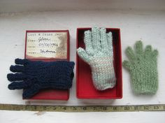 miniature knitted gloves