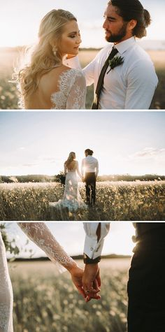 Golden sunset wedding portraits for the modern bride and groom