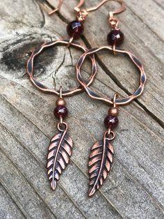 Bar Stud Earrings, Garnet Earrings, Copper Earrings, Leaf Earrings, Copper Jewelry, Wire Jewelry, Beaded Earrings, Boho Jewelry, Earrings Handmade