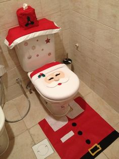 Oh em gee I need this! Customer Image Gallery for 4 Pcs Christmas Bathroom Toilet Cover and Rug Set - Happy Santa Christmas Gifts To Make, Christmas Party Food, Christmas Sewing, Christmas Home, Holiday Fun, Christmas Crafts, Christmas Decorations, Holiday Decorating, Christmas Bathroom
