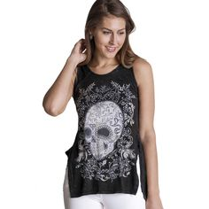 0f0b65a5b07d13 Purple Leopard Boutique - Women s VOCAL Skull Hi-Lo Black Tank Top with  Crystal Rhinestone