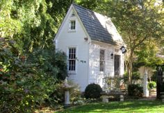 colonial garden shed – Breaking New Ground in Zone 6 Little Cottages, Small Cottages, Cabins And Cottages, Little Houses, Tiny Houses, White Cottage, Cozy Cottage, Cottage Style, Nantucket Cottage