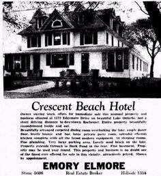 Crescent Beach Hotel - Rochester New York Rochester Homes, Rochester New York, Finger Lakes, Old Images, I Love Ny, Local History, Beach Hotels, Best Memories, Trivia