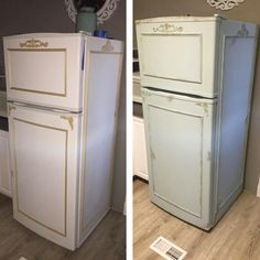 Fridge DIY -@manvanmanny gave this vintage fridge a modern update with a few coats of light blue paint.