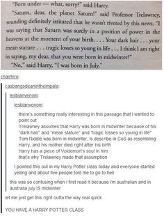 YOU HAVE A HARRY POTTER CLASS