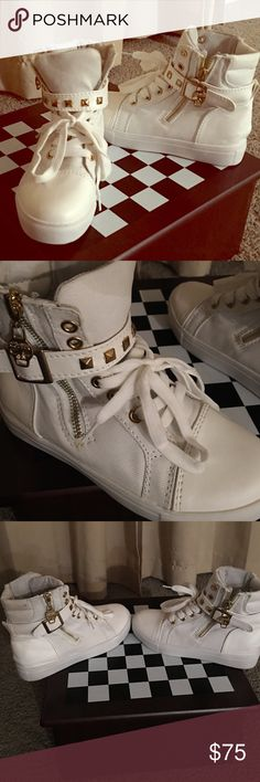 Vintage Alexander McQueen High tops Brand New * White Hightop sneakers-Size 35        Embellished with gold studded belt and gold skull zippers. Only to a good home!! Alexander McQueen Shoes Sneakers