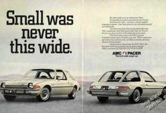 """Amc Pacer """"Small Was Never This Wide"""" Rare (1975)"""