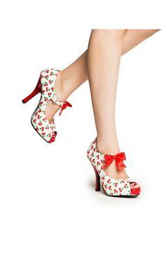 Cutiepie Mary Jane Heel in White Cherry Print - Viva Las Vegas - Collections | Pinup Girl Clothing