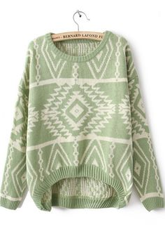 Green Long Sleeve Geometric Pullover Sweater