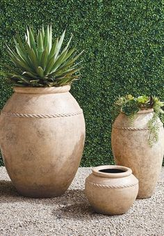 Inspired by antique Italian olive oil jars, these handcrafted rustic stone designs exude old-world charm. Use for potted plants or on their own to add character to any space, indoors or out. Trough Planters, Outdoor Planters, Ceramic Planters, Garden Planters, Planter Pots, Garden Oasis, Lawn And Garden, Patio Plants, Potted Plants