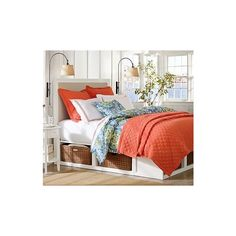 Stratton Storage Bed with Baskets, Full/Queen, Antique White - Pottery... (1,910 CAD) ❤ liked on Polyvore featuring home, furniture, beds, king size storage bed, king storage headboard, king headboard, wood headboards and king size platform storage bed