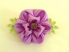 Lilac Peony Botan Fabric Flower Hair Barrette Tsumami Kanzashi