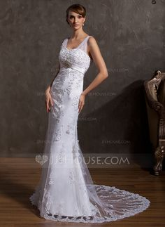 Trumpet/Mermaid Sweetheart Court Train Satin Tulle Wedding Dress With Lace Beading Sequins (002014955)