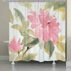 Beautify your bathroom decor with the serene image of the Laural Home Pink Blooms Shower Curtain. This unique shower curtain features a floral-inspired design that is digitally printed to create a bright, vibrant color and image. Pink Blossom, Curtains, Bed Bath And Beyond, Printed Shower Curtain, Pink Shower Curtains, Mattress Furniture, Shower Curtain, Laural Home, Pink