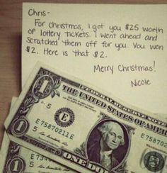 Would be a funny joke gift to just do this with scratched lotto tickets.... I bought you $10 in tickets and scratched them for you