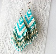Image detail for -Fringe Benefits Bead Woven Earrings by moonandsundries on Etsy