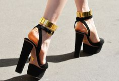 PRADA gold cuff ankle strap sandals