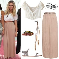 Perrie Edwards poses with her bandmates at Haneda Airport in Tokyo wearing a Free People Vintage Lovers Embroidered Top (Sold Out), the River Island Beige Side Split Belted Maxi Skirt (Sold Out) with an ASOS Leather and Aztec Bead Waist Belt ($15.48), the Claire's Brown Feather Hair Braid Clip ($10.50) and a pair of Free People Plough & the Stars Sandals ($58.00). You can find a similar vintage top at Etsy ($28.00) and a similar skirt at Old Navy ($39.94).