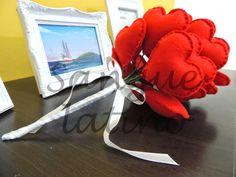 sangue latino artesanato - buquê de coração - handmade, felt, feltro, feito à mão