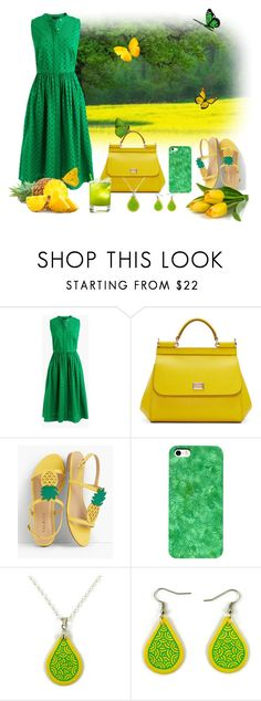 Pineapple by @savousepate on @polyvore #green #yellow #butterflies #summer