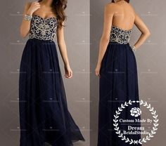 Navy Blue Strapless Sweetheart Beads Bodice Prom Dress Chiffon Prom Gown Cheap Evening Dress Formal Gown on Etsy, $179.99