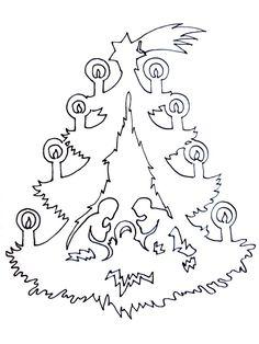 Vianočná vystrihovačka do okna  stromček s Betlehemom.Free.