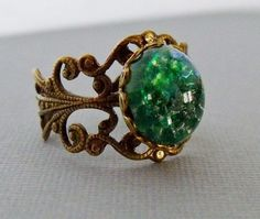 Green Opal Ring Green Adjustable Ring One by pinkingedgedesigns
