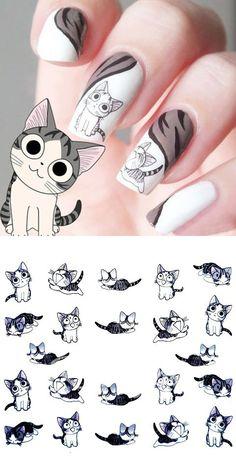 Cute Cartoon Little Cat Pattern Nail Art Stickers  #nailart ==
