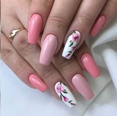 Sweet coffin pink nails accent casket floral nail f . Sweet coffin pink nails accent coffin floral nail for spring 2019 # feather nails … Cute Nail Colors, Cute Nails, Pretty Nails, Color Nails, Spring Nail Art, Spring Nails, Summer Nails, Nail Art Designs, Nail Designs Spring