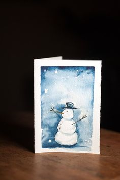 SNOWMAN, WATERCOLOR Christmas Card, Hand painted Original Artwork by PaulCheneyArt on Etsy