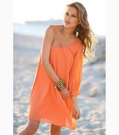 89f3f3ec56014 Vestido mujer manga 3 4 escote asimétrico - Venca Vestido Mujer