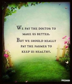 We pay the doctor to make us better. But we should really pay the farmer to keep us healthy. Find a farmer's market near you! Health Facts, Health And Nutrition, Health And Wellness, Health Tips, Nutrition Quotes, Nutrition Classes, Nutrition Guide, Women's Health, Wellness Tips