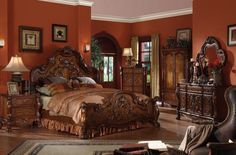 Bedroom Sets For Sale, Wood Bedroom Sets, King Bedroom Sets, Queen Bedroom, King Bedding Sets, Bedroom Ideas, Master Bedroom, Gothic Bedroom, Bedroom Decor