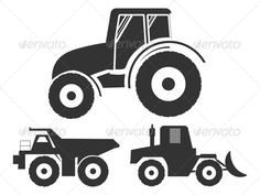 Vector Set Icons Tractor of Transport.