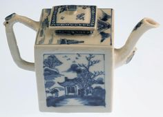 Kangxi Blue & White Teapot Artemisia Leaf Mark Chinese Porcelain