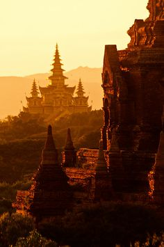 Sunset over mighty ancient temples of Bagan in Myanmar