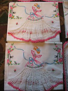 6 PC Set Vtg Embroidery Crochet Southern Belle Set Pillowcases 4 Scarves | eBay