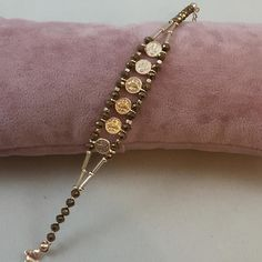 PandaHall Video Tutorial on Blue Electroplate Glass Bead Weave Stitch Bracelet Rose Gold Jewelry, Beaded Jewelry, Handmade Jewelry, Black Bracelets, Jewelry Bracelets, Armband Rosegold, Bridesmaid Bracelet, Beads And Wire, Luxury Jewelry