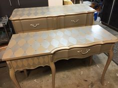 Gorgeous French provincial desk and dresser lovingly painted silver and gold with a harlequin pattern on the tops and sides.  SOLD! Tamarabeard1@gmail.com