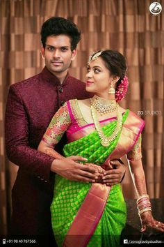 Pretty bride in parrot green n option 4 engagement Sari Blouse Designs, Bridal Blouse Designs, Bridal Silk Saree, Saree Wedding, Reception Sarees, Indian Reception, Wedding Saree Collection, Indian Bridal Hairstyles, Indian Bridal Fashion