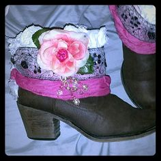 NEVER FIND A PAIR LIKE THEM!!!!! Giving boots a new lease on life with a boho gypsy makeover!!!!!!!  Excellent condition boots with tons of love and detail added by yours truly :)))) My favorite pair I've made to date!!!! Shoes