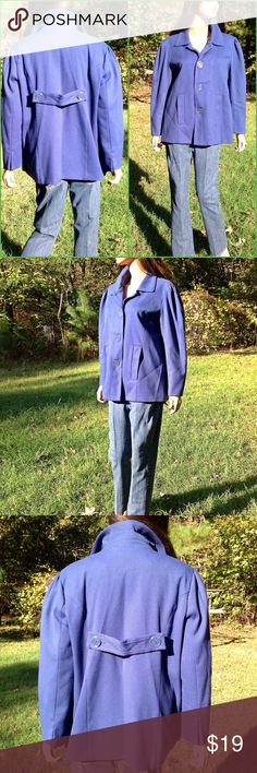 """Dialogue Blue Jacket Size Large 4 Button Closure *  Polyester 63%/Rayon 33%/Spandex 4%*  Two Front Pockets * 2 Buttons Back Accent *  Length 28"""" *  Bust 22"""" (44"""") * Sleeves 22"""" * Dialogue Jackets & Coats Blazers"""
