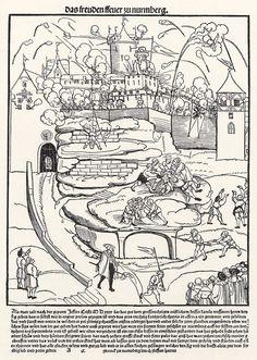 Artist: Schoen, Erhard, Title: Feuerwerk auf der Nürnberger Burg, Bildtafel, Date: 1535