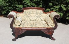 Gorgeous Dolphin Carved Paw Feet Mahogany American Empire Settee~Late 19th c #Empire